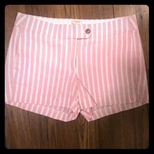 J. Crew pink and white stripe shorts